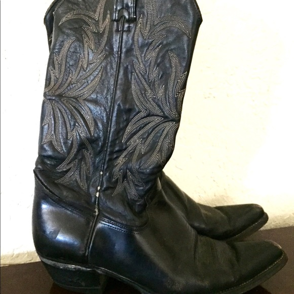 952445ac16f Vintage Black Leather Stitched Western Cowboy Boot